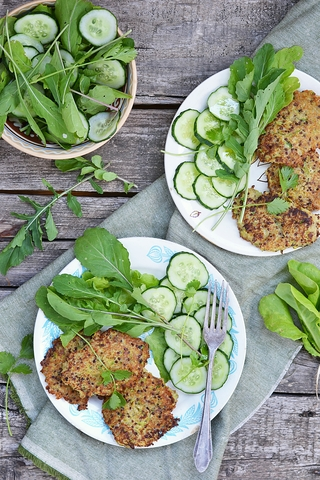 http://www.dreamstime.com/royalty-free-stock-image-quinoa-pancakes-zucchini-green-salad-image31727756